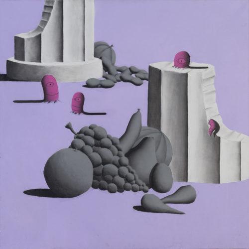 RUINS (STEAL LIFE) - 100x100 cm - acrilico spray e carboncino su tela - 2013
