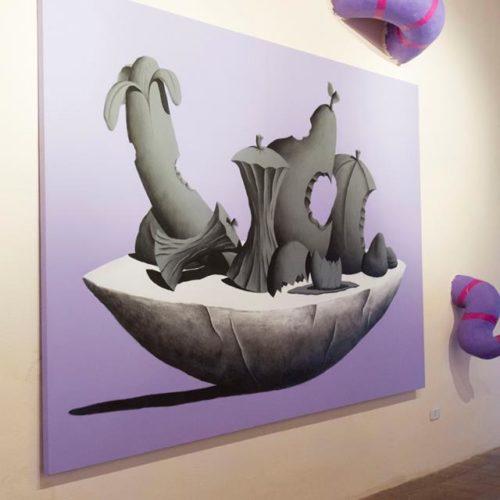 Sala del Castello di Arcidosso - Installazione per Alterazioni Festival - n.2 Tele 200x290 e sculture in Polistirolo e acrilico - 2014 particolare