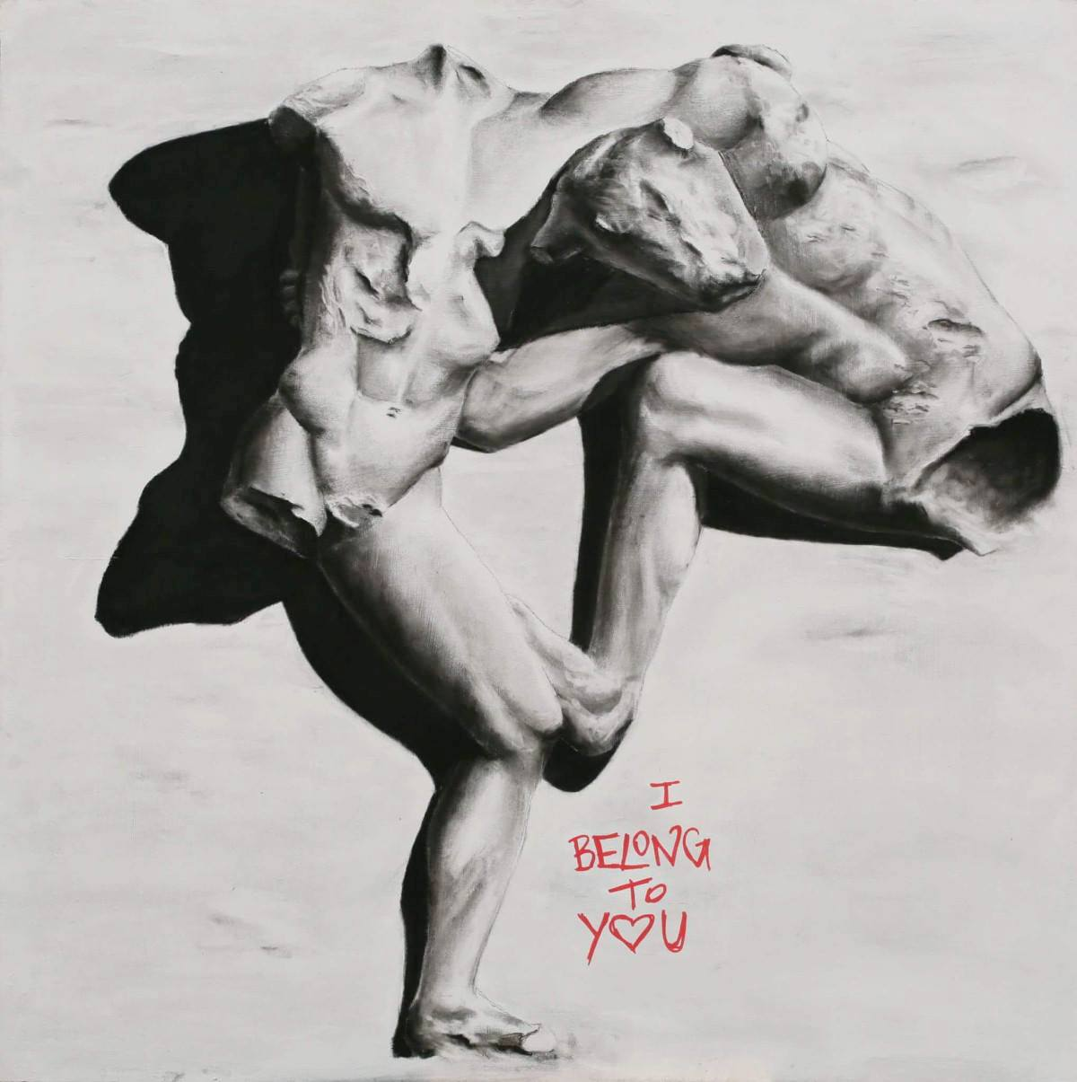 I BELONG TO YOU - 90x90 - carboncino e acrilico su tavola - 2017