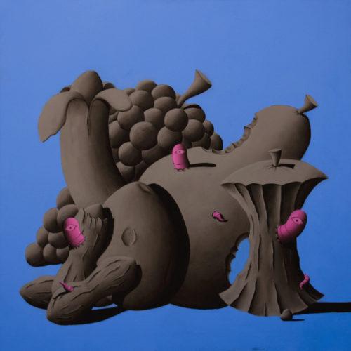 LA GRANDE ABBUFFATA - 95x95 cm - acrilico e carboncino su tela - 2014