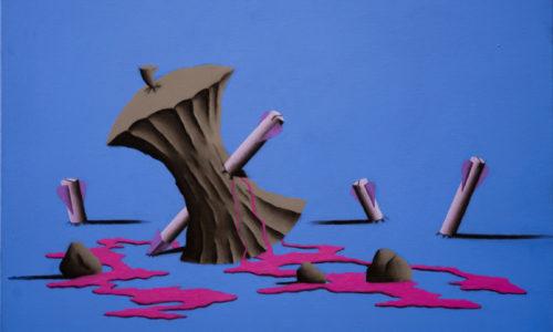 ATTACCO A NEWTON - 40x60 cm - acrilico e carboncino su tela - 2014