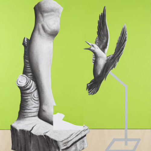 4 senza titolo (conversations) - 130x160 cm - acrilico spray, carboncino e arilico su tela 4350 euro